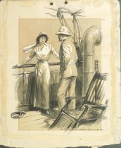Image of [Man and woman on deck of ocean liner] - Brown, Arthur William, 1881-1966